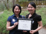 Mami Fujii '07, recipient of a 2009 First Year Partnership Award, with her mentee Audrey Tam '11.