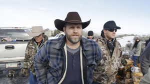 Ammon Bundy, one of the sons of Nevada rancher Cliven Bundy, arrives for a news conference at Mal...