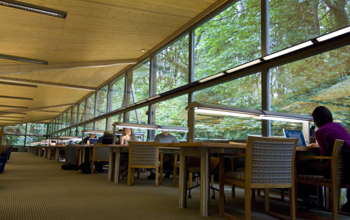 Students at work in Boley. The quiet study area in Boley Law Library overlooks the forest and pro...