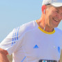 Larry Wilson running the Half Moon Bay International Marathon.