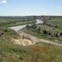 The Little Missouri River flows through Theodore Roosevelt National Park in North Dakota