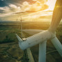Wind turbine from aerial view. Sustainable development, environment friendly of wind turbine by g...