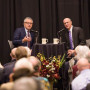 CNN Legal Analyst Jeffrey Toobin with Professor Bob Klonoff at the 2018 Kennedy Lecture.