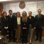 Mock Trial Team. L to R: Helen Lee, Perry Kantor, Kelci Schmidt, Samantha Erwin, Silvia Badea, An...