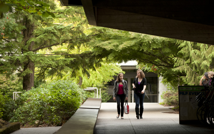 Walking out of Wood Hall toward the McCarty breezeway. Named in honor of Louise and Erskine Wood ...