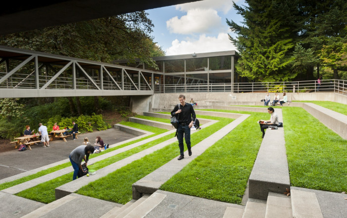 The law amphitheater as a living room. The law amphitheater becomes a natural gathering place whe...