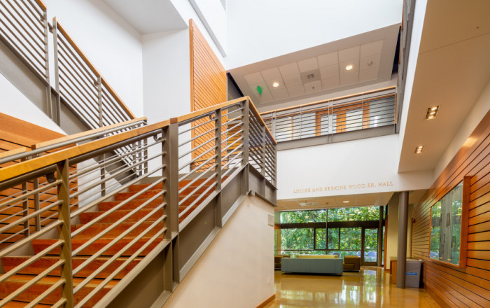 Wood Hall interior staircase. Wood Hall houses the #1 ranked Environmental Law program, as well a...