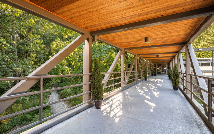 Sky bridge. The sky bridge above the law amphitheater connects Boley Law Library with the Legal R...