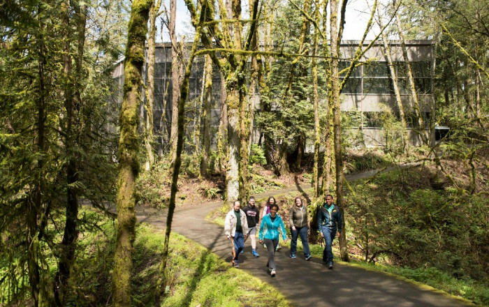 Professor Janet Steverson leads students on a hike through Tryon Creek. Lewis & Clark Law pro...