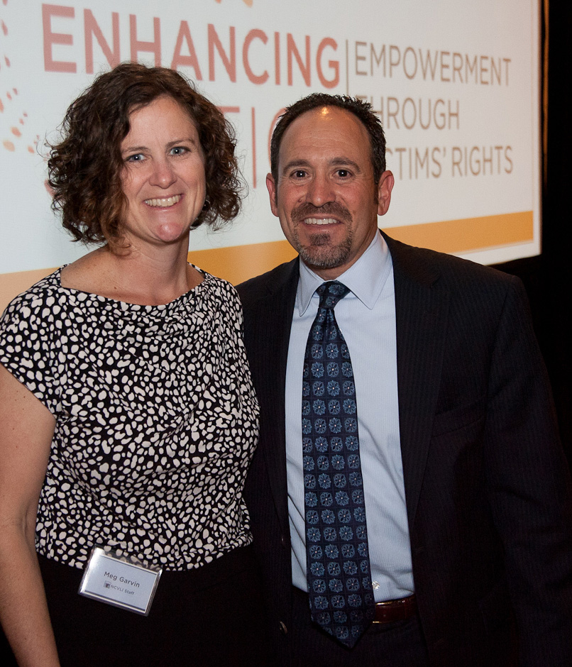 Attorney Michael Fell with NCVLI Executive Director Meg Garvin. Mr. Fell received the Pro Bono At...