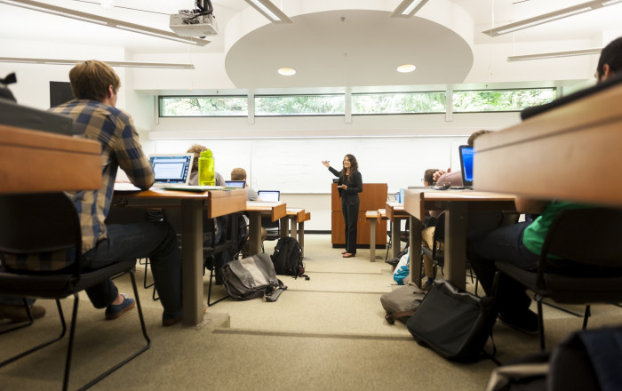 Professor Aliza Kaplan teaches in Wood Hall Classroom 8.  Wood Hall also houses nine private stud...