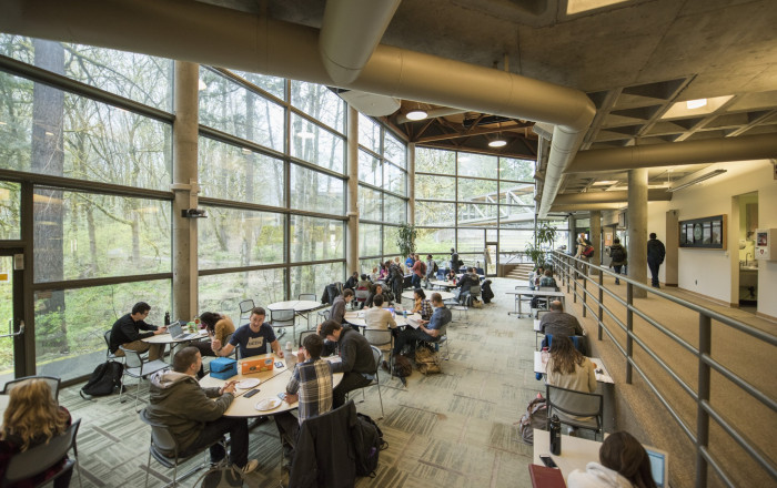Legal Research Center (LRC) student lounge, lower level at lunchtime. All classes break during th...
