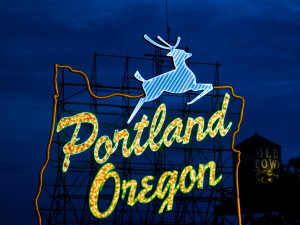 The White Stag sign at the west end of The Burnside Bridge has been a fixture of the city since 1...