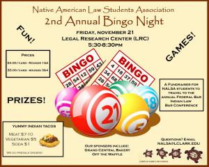 Second Annual Bingo Night Fundraiser Native American Law Students Association Nalsa Law
