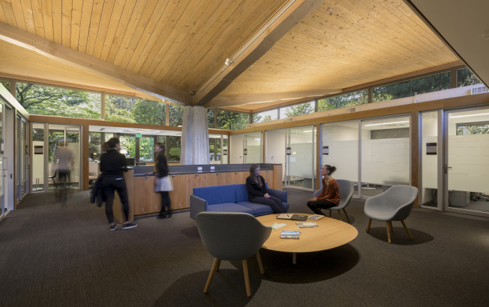 Students and staff inside Gantenbein. Originally a student lounge, the recently renovated John Ga...