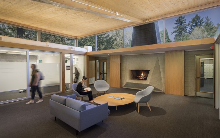 Students in Gantenbein lounge. With a fireplace and comfortable seating, Gantenbein lounge is sti...