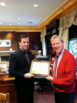 Nathan Scramek '12 with Judge Diarmuid O'Scannlain.