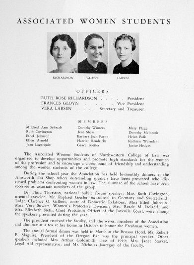 Associated Women Students of Northwestern College of Law yearbook entry