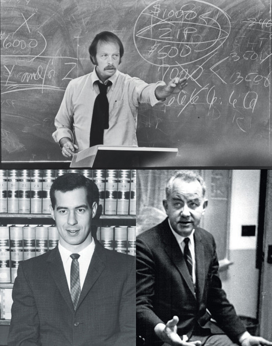 Professor Ron Lansing (top), Professor Ross Runkel (left), Professor Jack Cairns '54 (right)