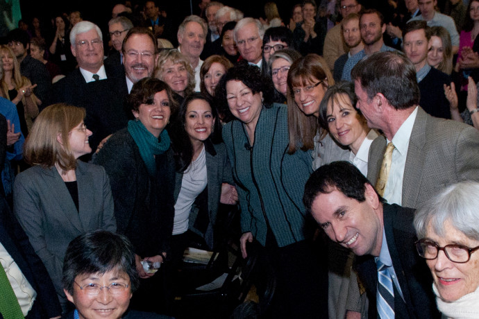 U.S. Supreme Court Justice Sonia Sotomayor (center) with some of the luminaries in attendance at ...