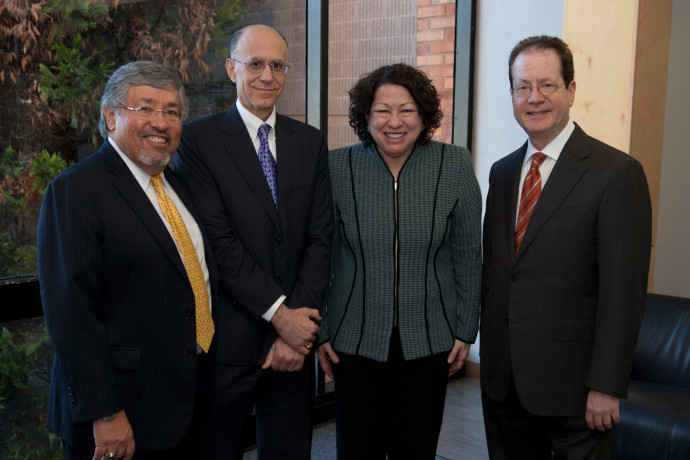 White & Case senior partner Rudy Aragon, Dean Robert Klonoff, U.S. Supreme Court Justice Soni...