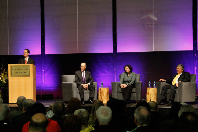 President Barry Glassner, Dean Robert Klonoff, U.S. Supreme Court Justice Sonia Sotomayor, and Wh...
