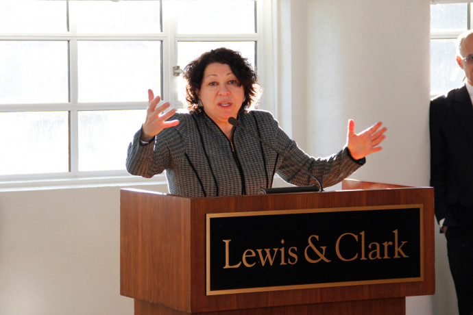 U.S. Supreme Court Justice Sonia Sotomayor speaks to an assembly of Lewis & Clark faculty.