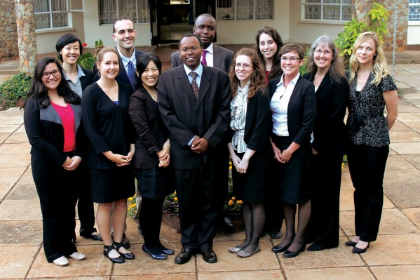 Justice Joel Ngugi, director of the Judiciary Training Institute, and Magistrate Eugene Kadmia after a discussion on the current state of judicial reform in Kenya and the implications for the enforcement of animal protection laws. Front row, left to right: Rachel Sekine '15, Christina Kraemer LL.M. '14, Moe Honjo LL.M. '14, Justice Ngugi, Angela Ostrowski '15, Meg York '15, Professor Kathy Hessler, Director of the Animal Law LL.M. Degree Program Natasha Dolezal '06. Back row: Denise Luk, David Rosengard '15, Magistrate Kadima, Juli Zagrans LL.M. '14.