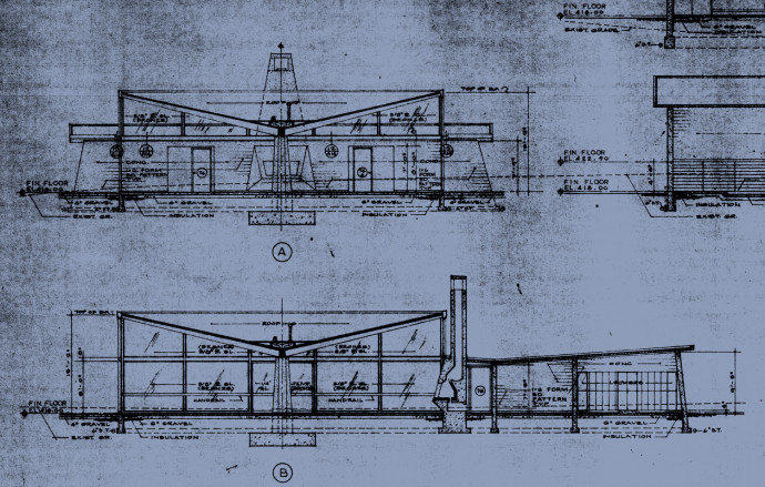 Architect Paul Thiry's original cross-section drawings for Gantenbein.