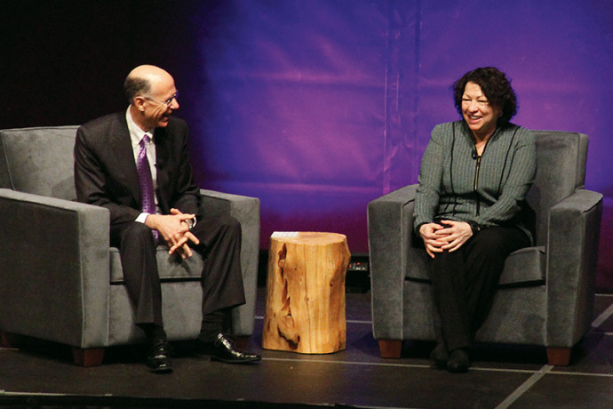 Dean Robert Klonoff and U.S. Supreme Court Justice Sonia Sotomayor, who were classmates at Yale Law School, reminisce during the Justice's visit to Lewis & Clark.