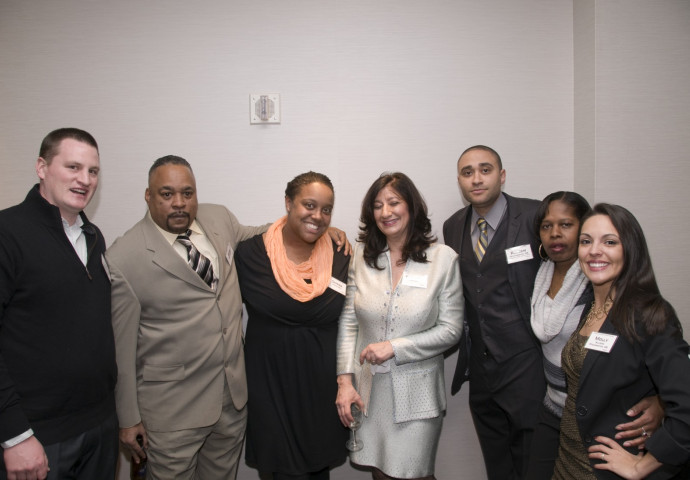 Friends and family, including Mark Washington (second from left) and Elizabeth Washington (fourth...