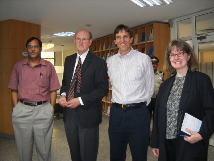 From left: Krishna Deva Rao, professor at the National Law University in Dehli, with Lewis & Clark's Ed Brunet, Craig Johnston '85, and Lin Harmon '91.