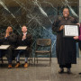 First-year student Jessica Gutierrez presented the OSB honor to Oregon Supreme Court Justice Adri...