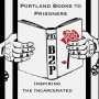 drawing of two hands holding a book behind black bars. the front cover has a red rose and B2P wri...