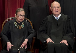 US Supreme Court Associate Justice Anthony M. Kennedy (R) and Associate Justice Ruth Bader Ginsbu...