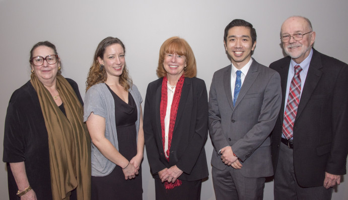 L to R: Senator Betsy Johnson, J. Ashlee Albies, Dean Jennifer Johnson, Michael Hsu, Professor Do...