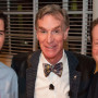 Bill Nye, center, with President Barry Glassner and student government president Lincoln Boyd.