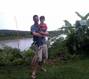 Professor Nick Fromherz and son by the Rio Espiritu Santo in Bolivia