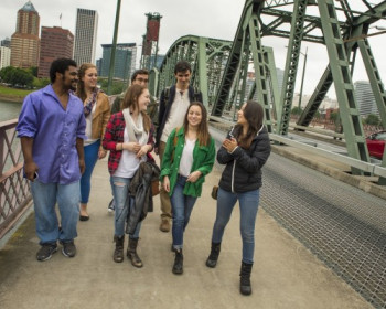 students on bridge in portland, Or