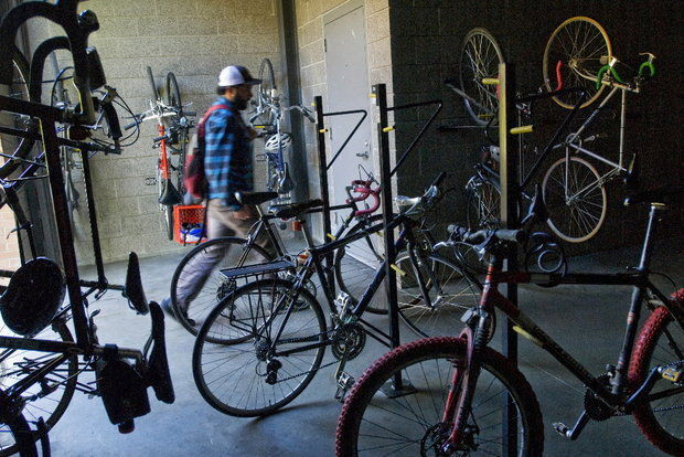 Lewis & Clark's bike-friendly campus includes a bike room at one of the school's LE...